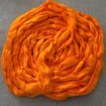 Orange Saffron Dyed Bamboo Combed Top Roving